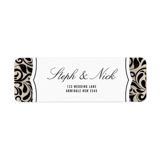 Floral damask on beige wedding card return address label