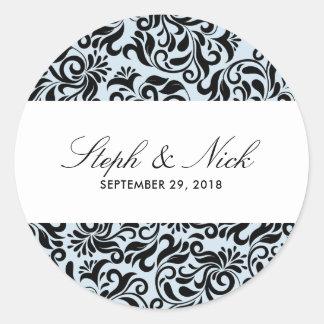 Floral damask on light grey wedding classic round sticker