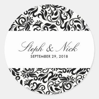 Floral damask on light wedding classic round sticker