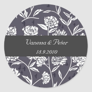 Floral damask personalised stickers