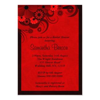 Floral Dark Red Goth Wedding Bridal Shower Invites
