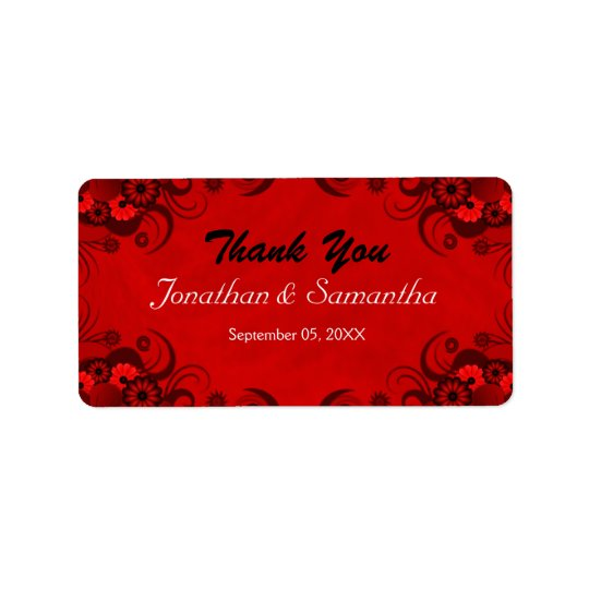 Floral Dark Red Gothic Medium Wedding Favour Label