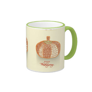 Floral Decorated Shiny Pumpkin On Abstract Coffee Mugs