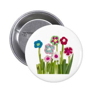 floral decoration 6 cm round badge