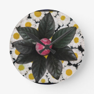 Floral decoration round clock