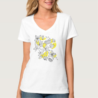 Floral decoration with black flower on yellow T-Shirt