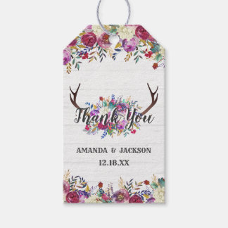 Floral Deer Antler Bouquet Wedding Thank You Gift Tags