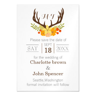 Floral deer Antler Wedding Stationery Magnetic Invitations