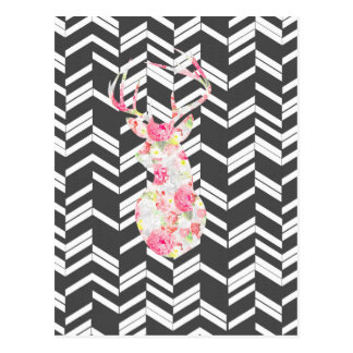 floral deer,chevron,zig zag,black white,trendy postcard