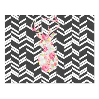 floral deer,chevron,zig zag,black white,trendy post cards