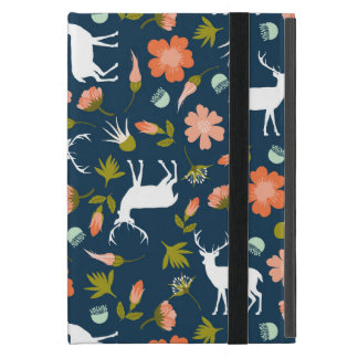 Floral Deer Silhouette Pattern iPad Mini Cases