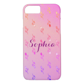 Floral Delicate Romantic Pink Neon Personalized iPhone 8/7 Case