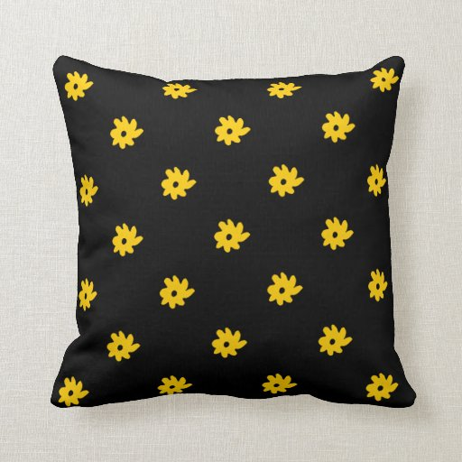 floral design . black and yellow throw pillow Zazzle