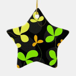 Floral design ceramic star decoration