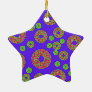 Floral Design Double-Sided Star Ceramic Christmas Ornament