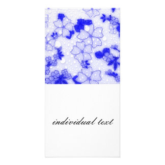 Floral Design EMMY  blue Customized Photo Card