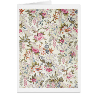 Floral design for silk material with stylized flow greeting cards