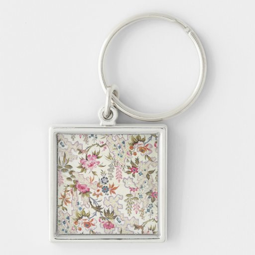 Floral design for silk material with stylized flow keychains