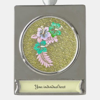 Floral Design GINA, green Silver Plated Banner Ornament