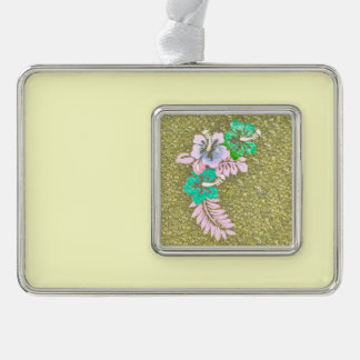 Floral Design GINA, green Silver Plated Framed Ornament
