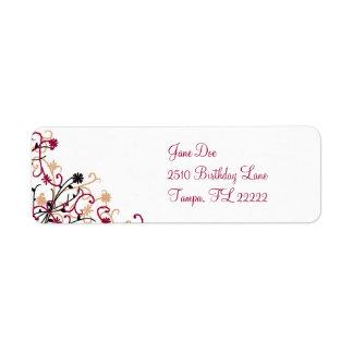 Floral design-maroon return address label