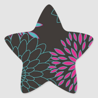 Floral Design Modern Abstract Flowers Star Sticker