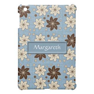Floral design on blue iPad mini case
