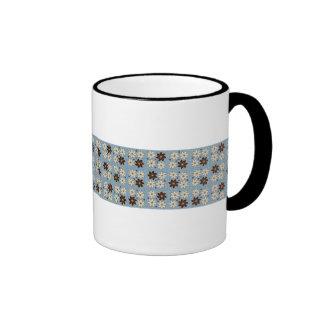 Floral design on blue ringer mug