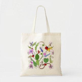 Floral Design on Budget Tote Bag