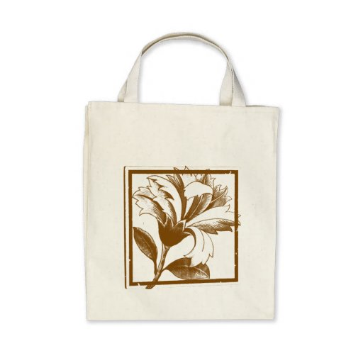 Floral Design Organic Grocery Shopping Tote Bag