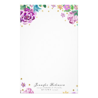 Floral Design Personalized Stationery