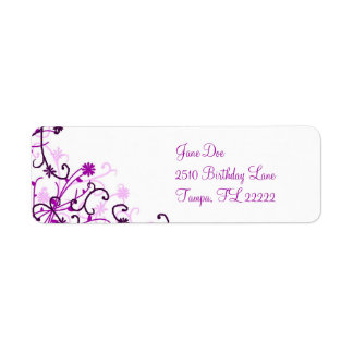Floral design return address label