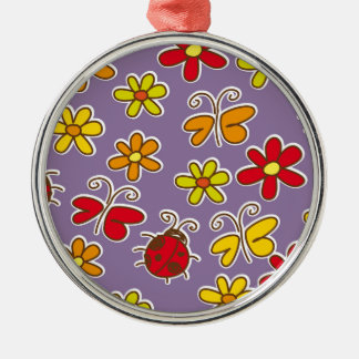 floral design Silver-Colored round decoration
