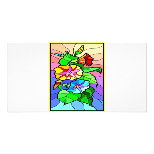 Floral Design Stained Glass #0044 Photo Cards