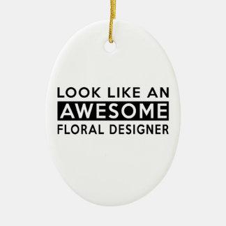 FLORAL DESIGNER DESIGNS CERAMIC ORNAMENT