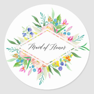 Floral Diamond Maid of Honor Sticker