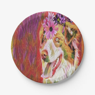 floral dog paper plate