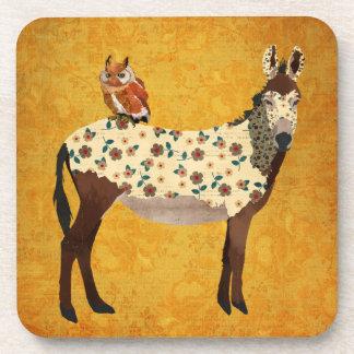 Floral Donkey & Owl Coaster