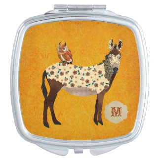 Floral Donkey & Owl Compact Mirror