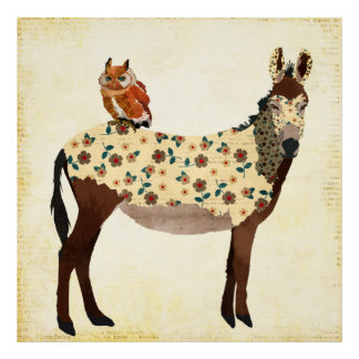 Floral Donkey & Owl Poster