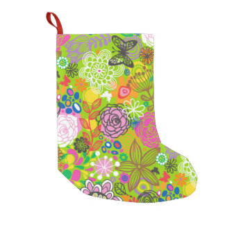 Floral Doodle Pattern Small Christmas Stocking