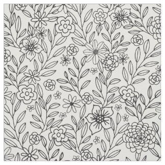 Floral Doodles Coloring Fabric