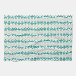 Floral Doodles in Turquoise and Gray Pattern Tea Towel