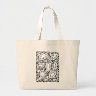 Floral Dotty Line Art Design Large Tote Bag