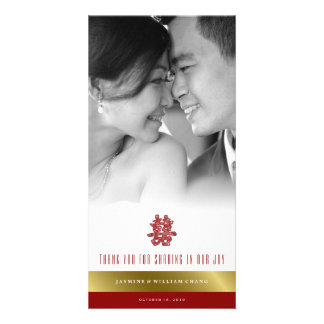 Floral Double Happiness Chinese Wedding Thank You Photo Cards