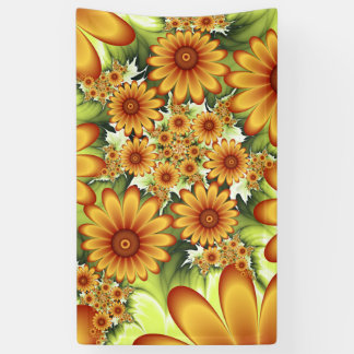 Floral Dream, Modern Abstract Flower Fractal Art Banner