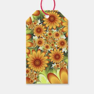 Floral Dream, Modern Abstract Flower Fractal Art Gift Tags