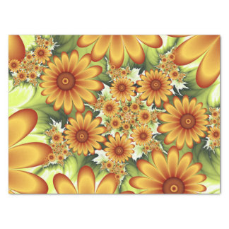 Floral Dream, Modern Abstract Flower Fractal Art Tissue Paper