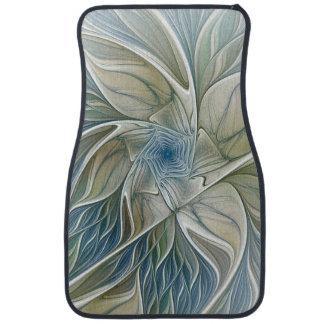 Floral Dream Pattern Abstract Blue Khaki Fractal Car Mat