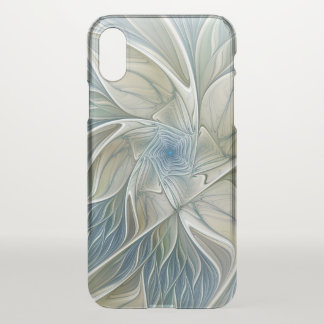 Floral Dream Pattern Abstract Blue Khaki Fractal iPhone X Case